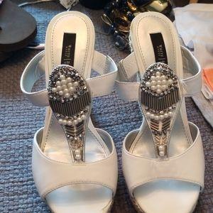 White House Black Market white embellished sandals